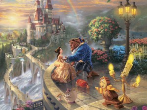 """Beauty and the Beast Falling in Love is a 2010 painting from Kinkade's Disney Dreams Collection. He says in his paintings for Disney, he has """"attempted to portray a panorama of the entire movie, rather than an individual scene."""""""