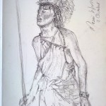 Masai Warrior - Pastel Pencil on Moleskin Sketchbook paper