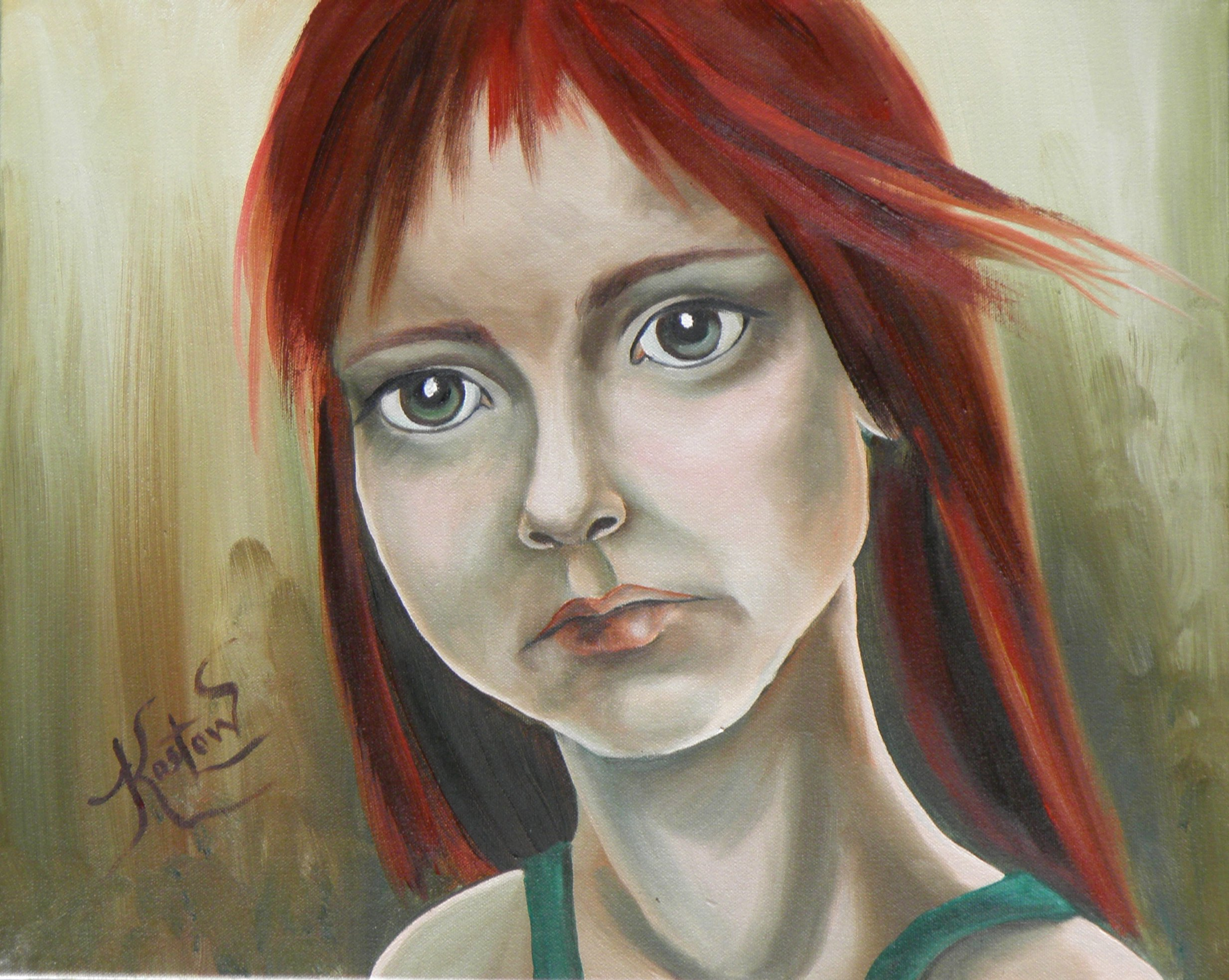 A portrait of a red-headed child depicting an accusation